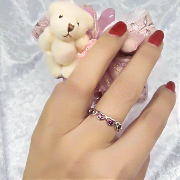 Ασημενιο δαχτυλιδι καρδουλες