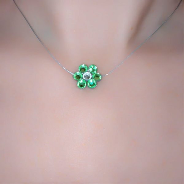 Κολιε πρασινη μαργαριτα swarovski