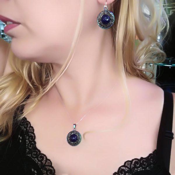 Κολιε με μπλε κρυσταλλο και πετρες μαρκασιτη