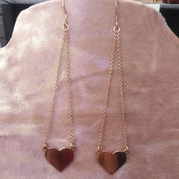 Σκουλαρικια κρεμαστες καρδουλες ασημενιες 925 σε ροζ χρυσο