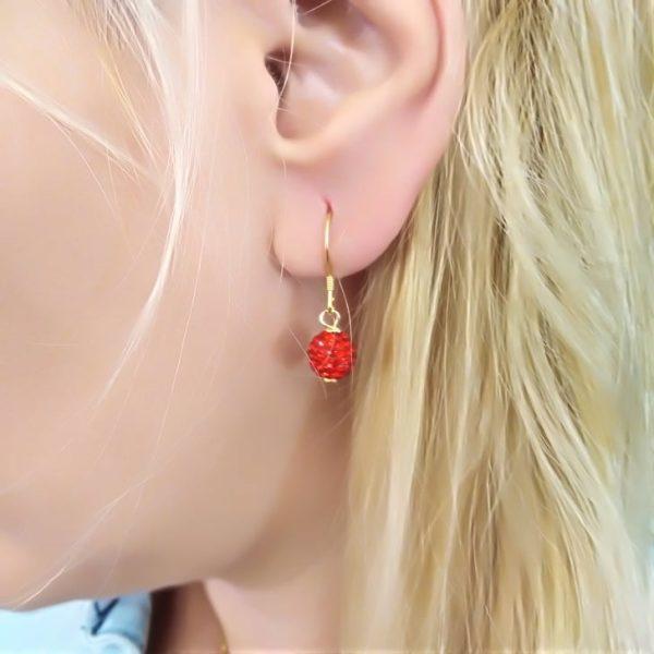 Σκουλαρικια ασημενια επιχρυσομενα 925 κοκκινες μπαλιτσες με zirgon