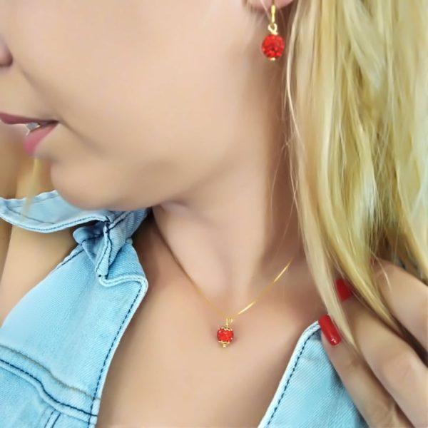 Σετ κολιε και σκουλαρικια ασημενια επιχρυσομενα 925 κοκκινες μπαλιτσες με zirgon