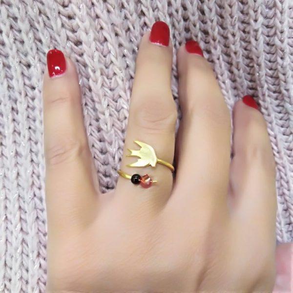 Ασημενιο επιχρυσομενο 925 δαχτυλιδι χελιδονι
